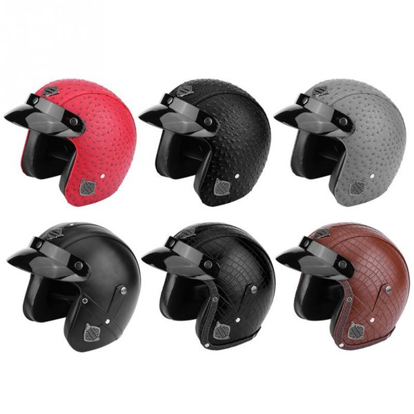 Motorcycle Scooter PU Leather Open Face Half Helmet 100%  New Retro And Classic Motorcycle Helmet New Arrival Universal
