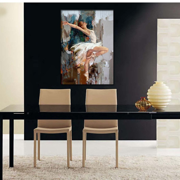 High Quality Handmade Original Dancing Ballerina Oil Painting On Canvas Hand Painted Abstract Ballet Girl Wall Painting