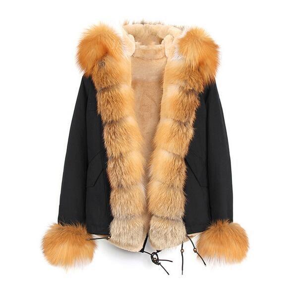 Fashion brown fur trim Jazzevar brand snow women coats Liner Detachable brown fox and rabbit fur liner black mini parka with fox Placket fur