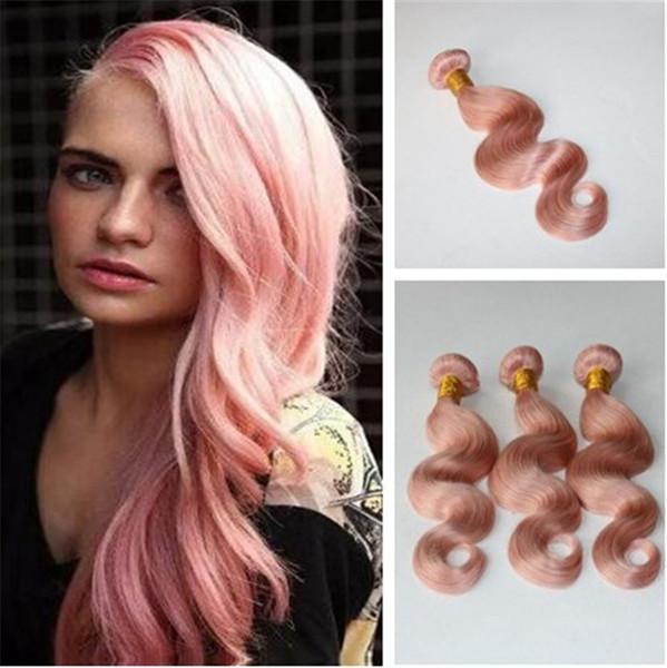 Großhandel Haar Spinnt Prue Rosa Farbe Haar Bundles Körperwelle Haareinschlag Unverarbeitete Peruanische Malaysischen Indischen Brasilianischen