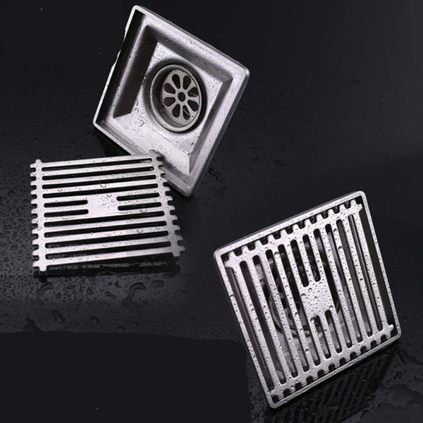 304 Stainless Steel The Floor Drains Shower Room Supplies Square Wire Drawing Bath Drainer Tile Insert High Quality 32kd ff