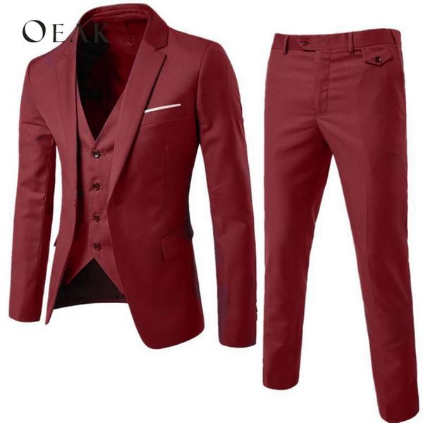 Oeak Slim Suit hombres trajes masculinos de negocios vestido formal Blazer Wedding Office Pantalones Set 2018 traje homme 3 piezas traje homme