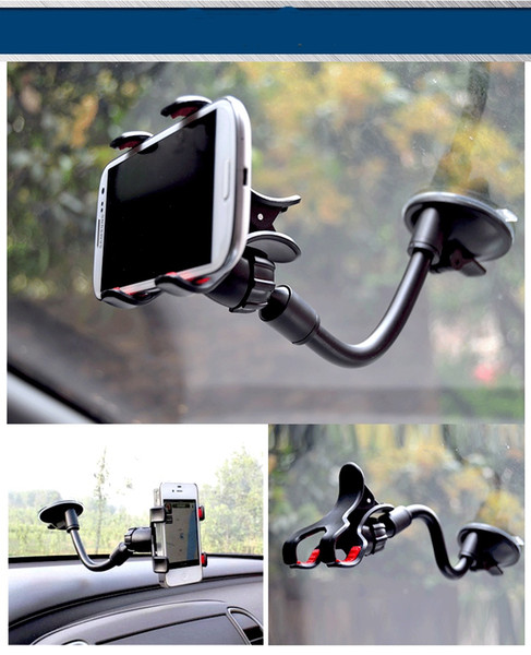 Double Clip Car Mount Flexible Universal Long Arm/neck 360° Rotation Windshield Phone Holder Suction cup for Cell Phones Retail Pack