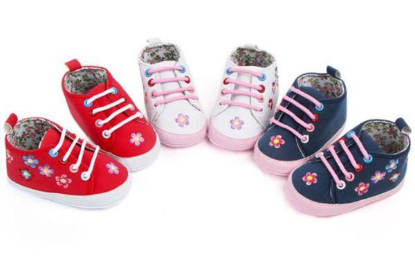 Newborn Toddler Infant Baby Boy Girl Soft Sole Crib Shoes Sneaker Boys Girls Toddler Lace Up Shoe Floral Anti-slip Prewalker