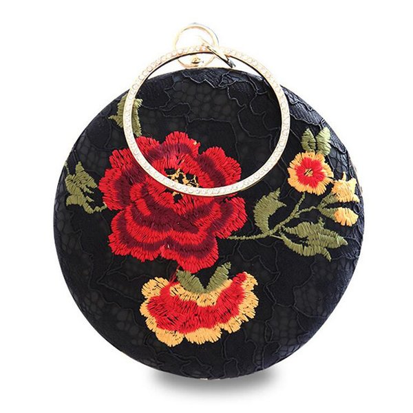 Women Round Clutch Bag Embroidery Flowers Diamonds Evening Bag with Chain Crossbody Bags for Ladies Wedding Party Clutches Purse