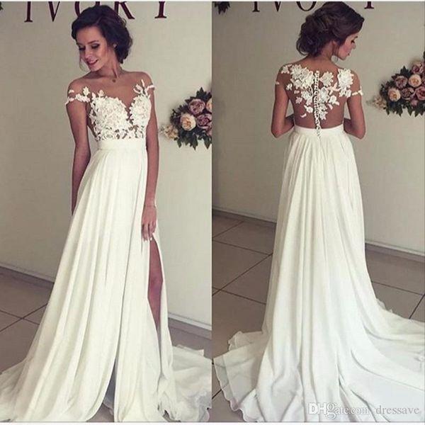 2019 Summer Beach Chiffon Wedding Dresses Lace Top Short Sleeves Illusion Neckline Side Slit Garden Elegant Bridal Gowns