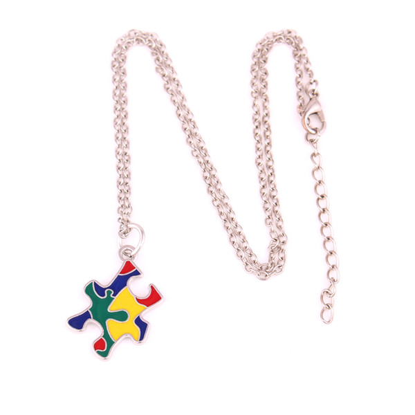 New Arrival Autism Awareness Pendants With Holes Puzzle Piece Jigsaw Pattern Enamel Colors Charm Necklace Jewelry