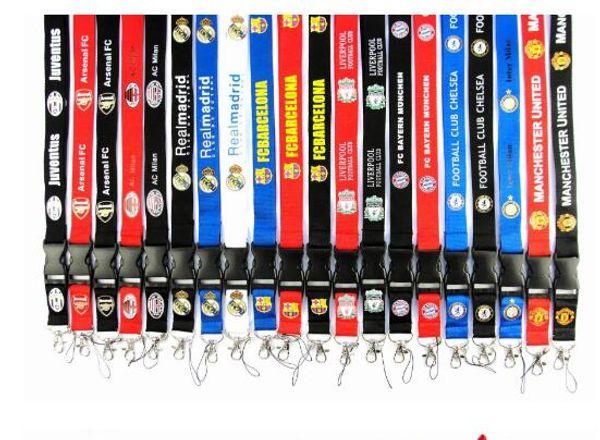 100 unids / lote equipos de fútbol Lanyard ID Card Badge desmontable teléfono celular Lanyard llavero para regalos de Navidad ventas calientes envío gratis