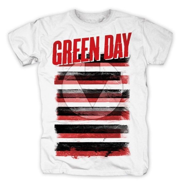 Shirt Maker Crew Neck manga corta Summer para hombre Green Day Black, White Red Allover Official camiseta para hombre Tee