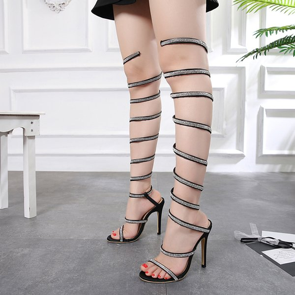 Luxury rhinestone snkae shape ankle wrap over the knee high heels designer shoes women summer light gold black size 35 to 40