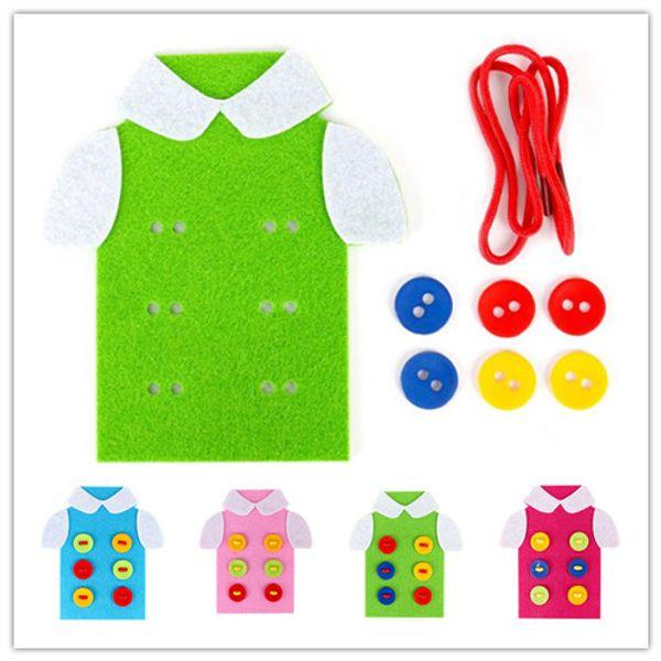 DIY Handmade Educational Toys Thread Sewing Button T-shirt Shoelaces Tying Kits Kindergarten Handwork Teaching Material Kids Christmas Gift