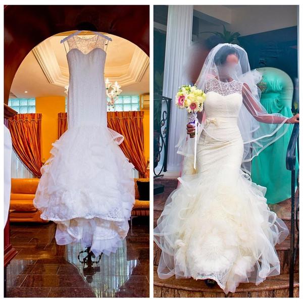 Vestidos de novia de la sirena del O-cuello del cordón Slim Plus Size Custom 2019 Vestidos de novia de la vendimia Venta barata V-Shape Back Ruffles Faldas