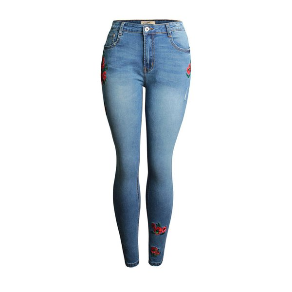 Europe and the United States large size elastic leggings for women, pastoral style 3D embroidery flowers worn women's jeans.