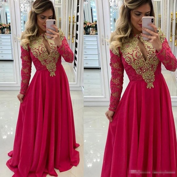 Arabic Red Chiffon Lace Dresses Evening Wear 2018 Long Sleeves Keyhole With Gold Appliques Beaded Prom Party Occasion Gowns Cheap