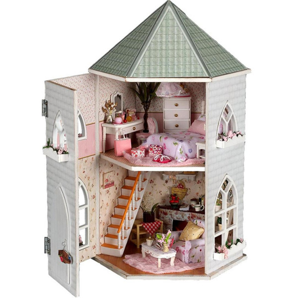 diy wooden love castle dollhouse miniature with light and furniture rh m dhgate com