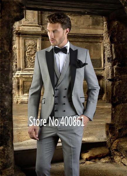 Klasik Stil Bir Düğme Açık Gri Damat Smokin Tepe Yaka Groomsmen Best Man Blazer Erkek Düğün Takımları (Ceket + Pantolon + Yelek + Kravat) H: 652