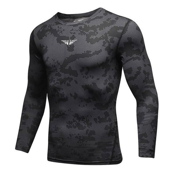 Men Serpentine Printing Sports T Shirts Running Fitness Tight Top Gym Workout Basketball Sport Clothing Compression Quick Dry