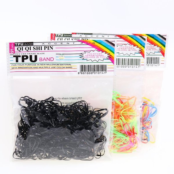 300pcs / pack Corda di gomma Ponytail Holder Fasce elastiche per capelli Cravatte Trecce Trecce Clip di capelli Accessori per capelli