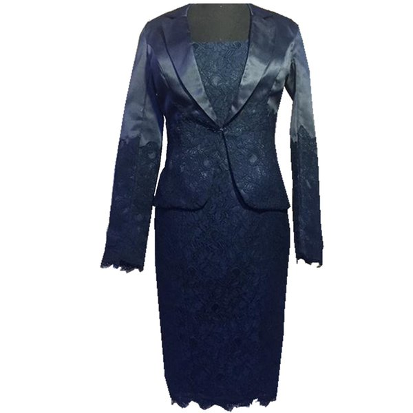 2018 Ghands Lace/Satin Sheath/Column Tow Piece Of Suit Long Sleeve Tailored Collar JJShouse Plus Formal Gowns Mother of The Bride Dresses