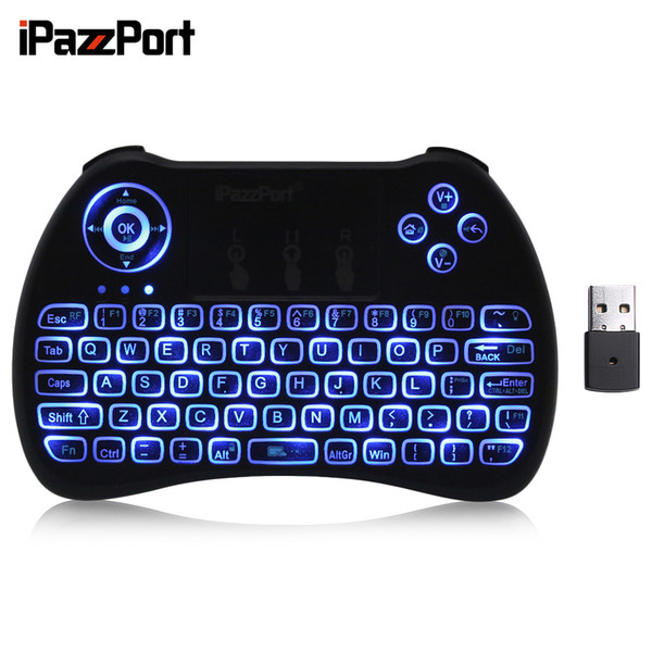 iPazzPort KP-810-21Q Mini teclado inalámbrico de 2.4GHz con retroiluminación táctil English / Russia / Spanish / French / Italian / German Language
