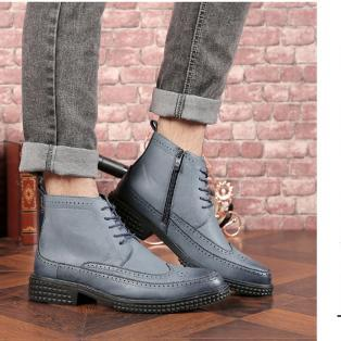 B030 2018 new fashion mens shoes pop Korean version of carved leather boots mens pointed Martin boots factory wholesales Best selling