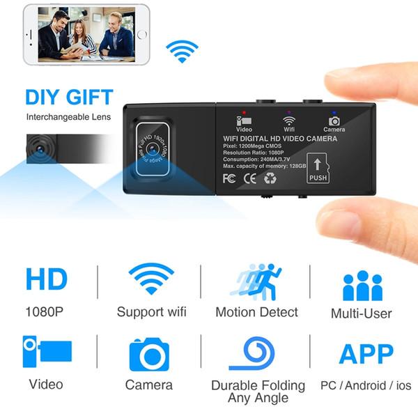 Wireless Wifi Mini IP-Kamera tragbare digitale HD-Videokamera 1080P Dual Lens DIY Kamera Home Security Bewegungserkennung DVR
