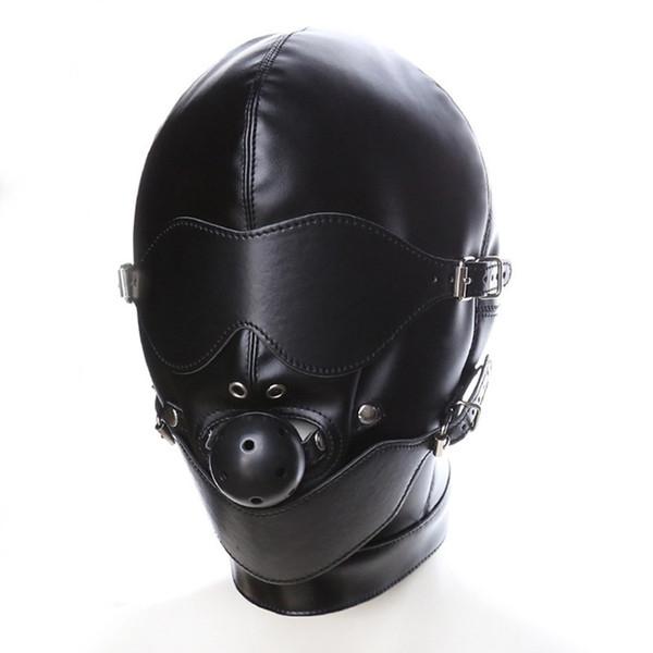 Black Sex Mask Fetish BDSM Leather Mouth Eye Slave Hood Ball Gag Sex Product Toy Bondage Erotic Costume For Couple Men Women Y18101501