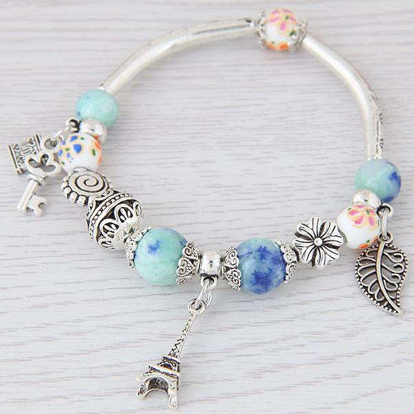 LEMOER Fashion Silver Color Paris Eiffel Tower Leaves Charm Bracelets & Bangles Crystal Murano Beads Key Lock Bracelet For Women
