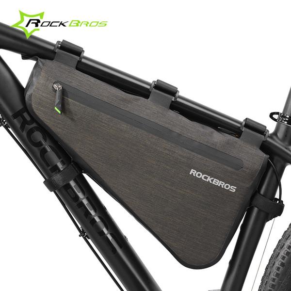 ROCKBROS Bicycle Front Handlebar Bag Waterproof Cycling Bag 4-5L Black Gold US