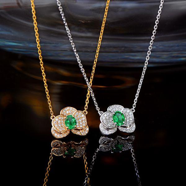Caimao Natural Pendentif en émeraude or blanc ou jaune 14 carats avec un collier en diamants de 0,27 ct