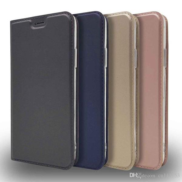 Caso para o iphone x 8 plus 7 plus 6 6 s plus 5 titular do cartão com suporte flip magnético de cor sólida pu couro duro