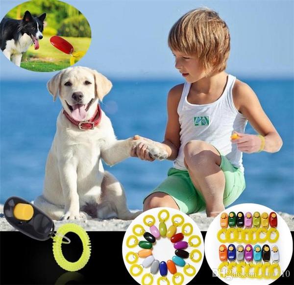 Pet Trainer Pet Dog Training Dog Clicker Adjustable Sound Key Chain and Wrist Strap Doggy Train Click Pet Training Tool I296
