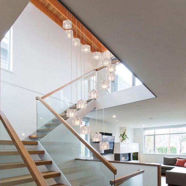 6-40 lichter Treppenhaus Art Deco Led Cubic Glas Pendelleuchten Für Restaurant Penthouse Moderne G4 Led Cube Licht Hohe Treppenbeleuchtung
