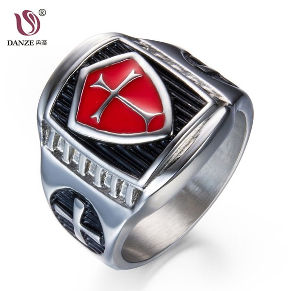 DANZE Trendy Stainless Steel Wedding Bands Ring For Man Male Engagement Bagues Glory Knights Templar Anel Masculino Jewellery