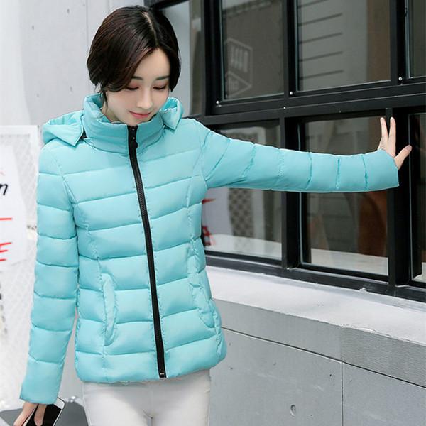 High Quality Hooded Warm Winter Basic Jacket Women Solid Stand collar Womens Coat Short Jacket Casaco Feminina Inverno Tops