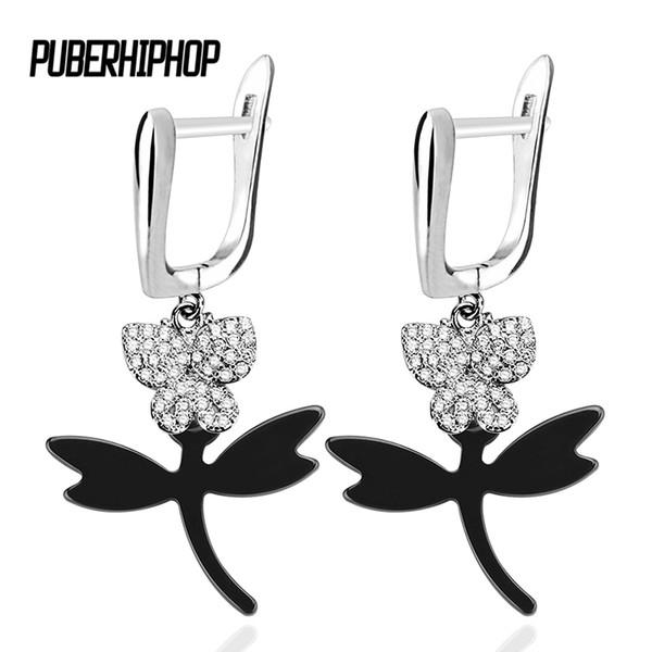 2018 New Fashion Bling Crystal Butterfly Women Earrings Never Fade Healthy Ceramic Dragonfly Earrings Elegant Jewelry Wholesale