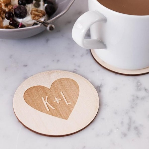 12pcs Wooden Coasters, Personalized Party Table Decoration Coasters, Wooden Custom Wedding Party Favors Supplies