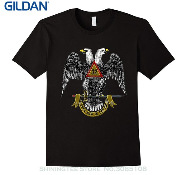 Wholesale discount Short sleeved Print Letters Freemason 32 Degree Scottish Rite T shirt Graphic Tee