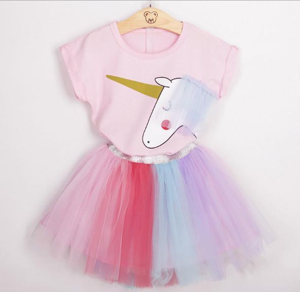 Gilrs moda verão conjuntos de roupas de saia crianças rosa algodão topos dos desenhos animados T camisas + meninas Tutu saia do bebê meninas set crianças roupa conjunto terno
