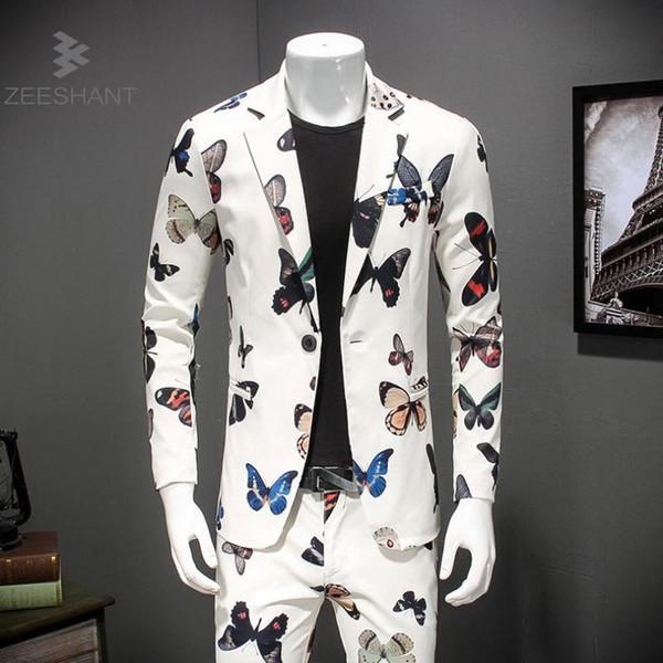 Satin Al Erkek Takim Elbise Blazer Tek Dugme Kelebek Baski Erkek