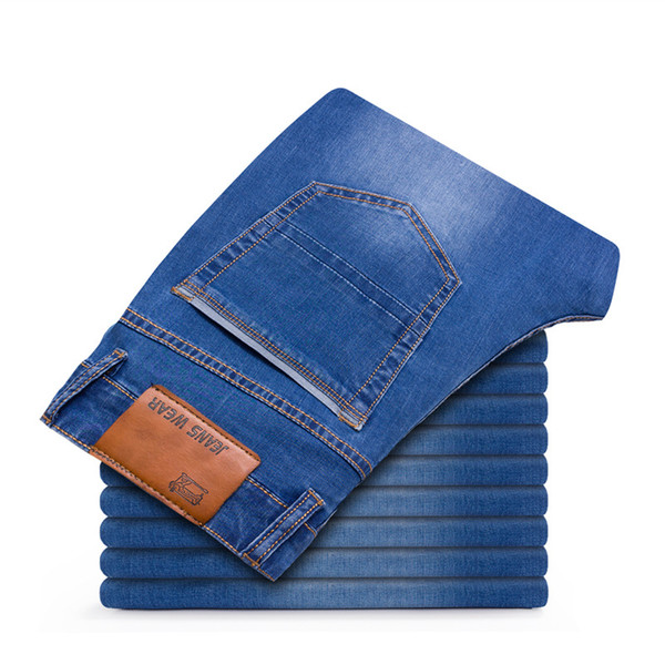 2018 Autumn Winter Mens Stretch Jeans Casual Fit Loose Relax Denim Trousers Pants Plus Size 35 36 38 40 42 Blue large size