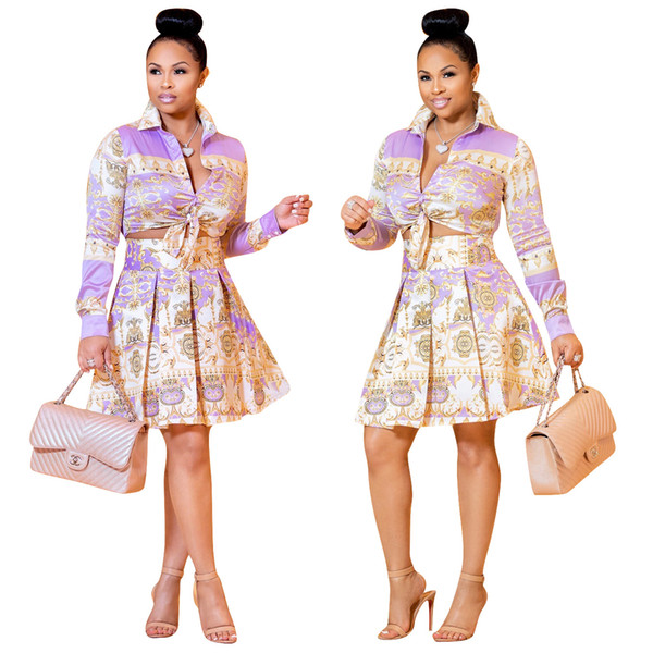 Free Ship Women Fashion Lapel Collar Print Crop Top+Skirt Two Piece Sets Casual Outfit 2Pcs Suits XXXL Plus