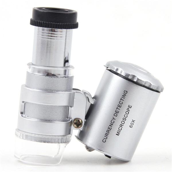60X LED Mini Professional Microscope Pocket 60x Magnifier Handheld Jeweler LED Lamp Light Loupe