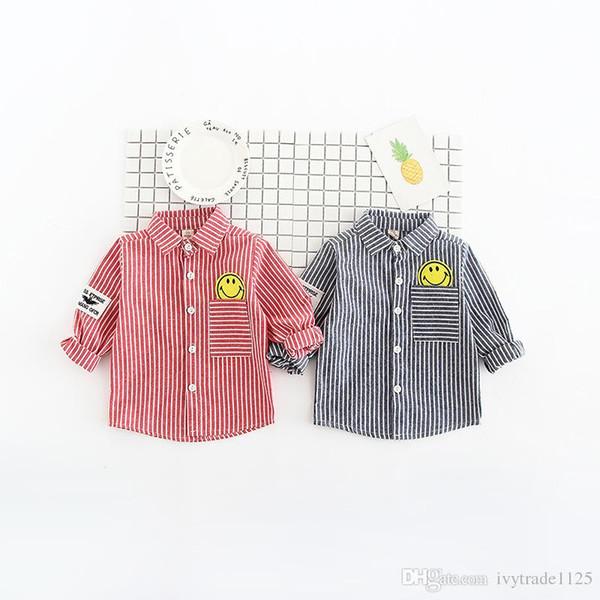 INS NEW llegadas de primavera caída de la camisa de la muchacha del muchacho camisa vuelta de manga larga bolsillo eliminado camisa de los cabritos casual elegante camisa cómoda