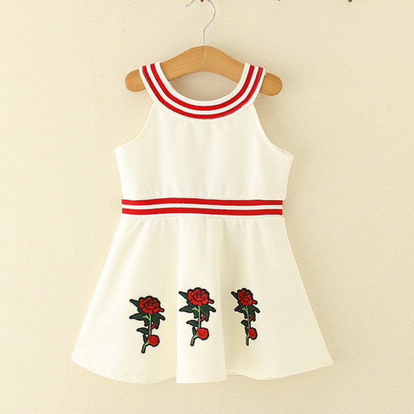 Kids Girls Dresses Baby Girl Striped Dress Infant Girls Floral Embroidery Dress for Party 2018 Princess Vestidos Children Clothing D812