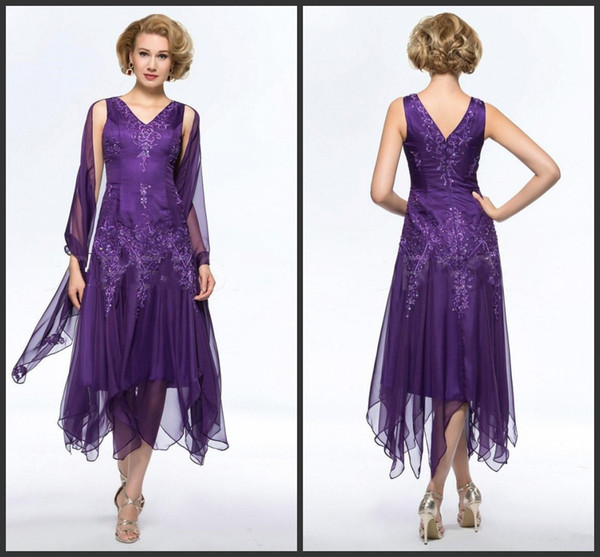 2018 New Elegant Purple Chiffon Tea-length Mother Of The Bride Dresses with Wrap Plus size V-neck Hollow Back Mother's Dresses