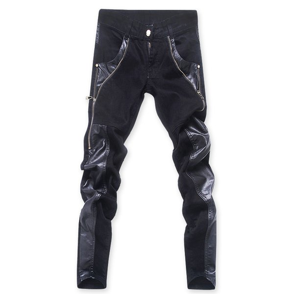 Fashion cool Mens punk rock jean pants with leather zipper Plus size 30 31 32 33 34 36 Patchwork Skinny tight