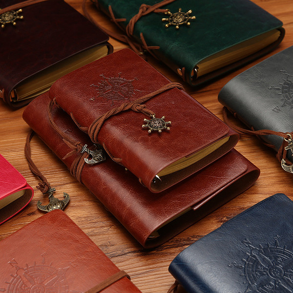 top popular Vintage Travel Diary Notebook Kraft Papers Journal Notebook PU Leather Spiral Pirate Notepad School Student Classical Books Stationery Gift 2021