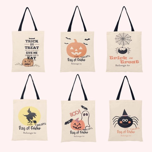 SALE 6 Types Halloween Canvas Bags Spider Pumpkin Tote Bags Drawstring Sack Candy Gift Treat or Trick Party Decoration