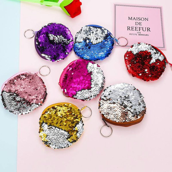 2018 hot cute Mermaid Sequin coin purse mini Storage Bag Key Ring Purse with Zipper Round Plush Coin Bag for students Headphone Bag